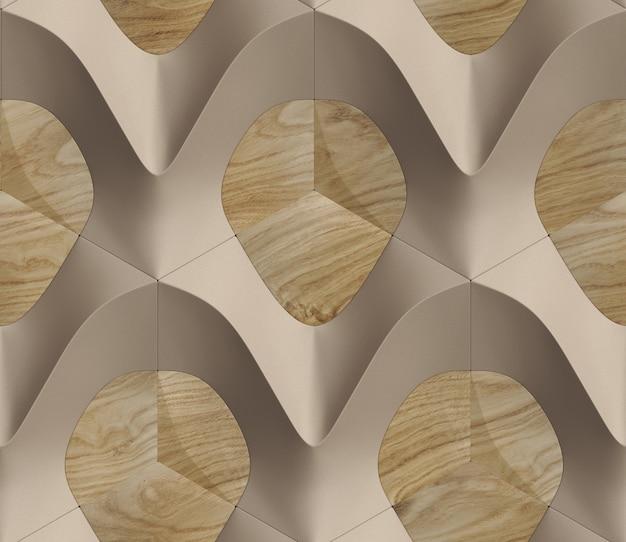 Wzór 3d w kolorze brązowym i drewnie w postaci sześciokątnych płytek o objętościowym kształcie skóry.