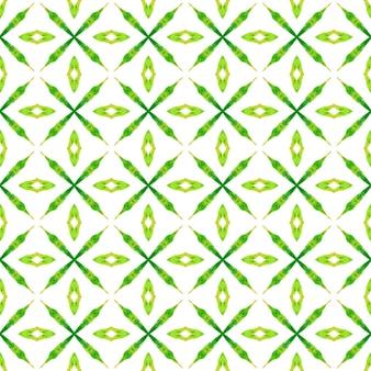 Wzór akwarela chevron. zielony, sympatyczny letni szyk boho. zielona geometryczna granica akwarela chevron. gotowy nadruk na tekstyliach, tkanina na stroje kąpielowe, tapeta, opakowanie.