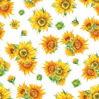 Wzór akwarela słonecznik