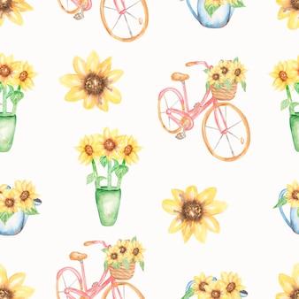 Wzór akwarela słoneczniki. różowy rower, wzór kwiaty