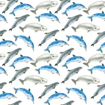 Wzór akwarela wielorybów