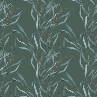 Wzór akwarela zieleni. srebrny zielony eukaliptus rozgałęzia się tło. tropikalny wzór.