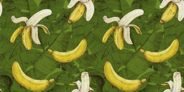 Wzór banana z tropikalnymi liśćmi na jasnym zielonym tle