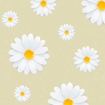 Wzór białej stokrotki na jasnożółtym tle