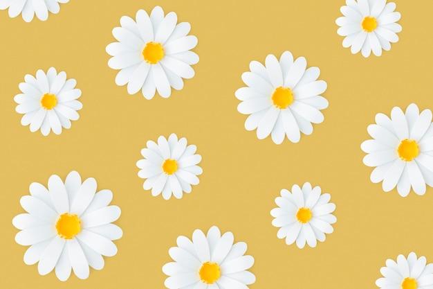 Wzór białej stokrotki na żółtym tle