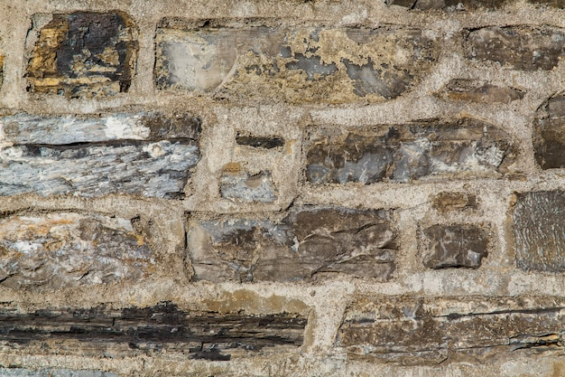 Wzór brązowy kolor starej kamiennej ściany nierównej pękniętej prawdziwej kamiennej powierzchni ściany z cementem