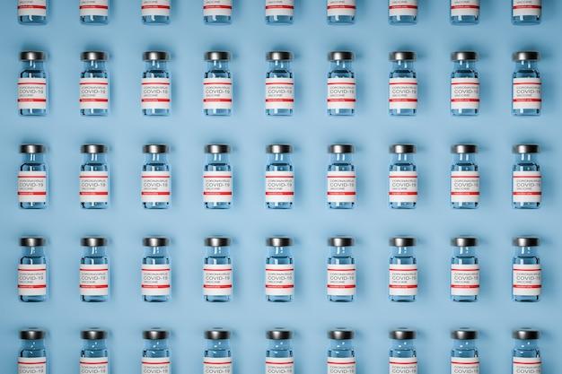 Wzór butelek szczepionki przeciwko covid-19 z płynem do iniekcji. koronawirus szczepionka. niebieskie tło. ilustracja 3d