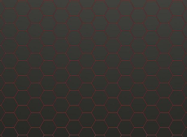 Wzór czarnych sześciokątów z czerwonymi liniami światła.