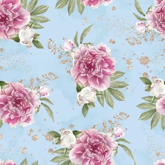 Wzór delikatnych kwiatów róż. akwarela ilustracja.