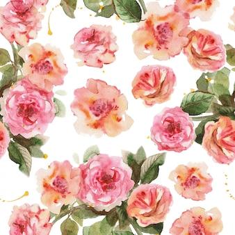 Wzór delikatnych różowych róż. wzór kwiatowy na białym tle.