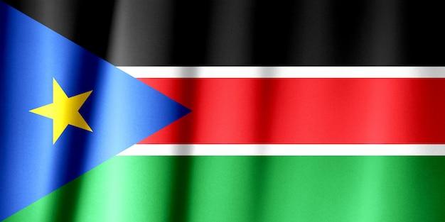 Wzór flagi sudanu południowego na fakturze tkaniny
