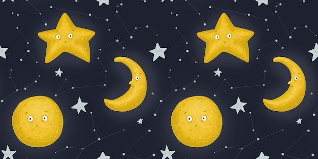 Wzór, gwiaździsta noc. dziwny miesiąc, księżyc i gwiazdy. nocne niebo i konstelacje