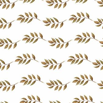 Wzór jesień liście, naturalne gałęzie, kolorowe zioła, ręcznie rysowane w akwarela.