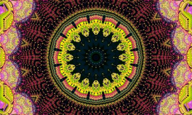 Wzór kalejdoskop zielonych liści. koło streszczenie tło.