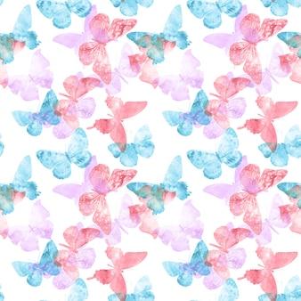 Wzór. kolorowe motyle tropikalne na białym tle. zdjęcie wysokiej jakości