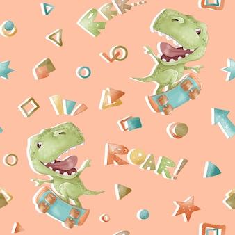 Wzór. kreskówka dinozaury. nadruk do pokoju dziecięcego.