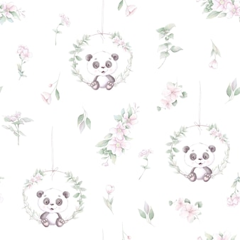 Wzór. kreskówka panda z kwiatami i balonami.