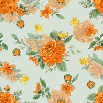 Wzór kwiatów. żółte i pomarańczowe róże.