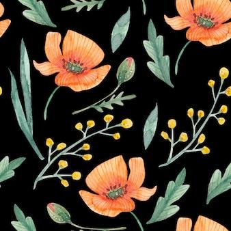 Wzór kwiatowy wzór z ręcznie rysowane dzikie kwiaty maki i zioła powtarzające się drawin