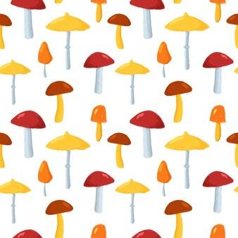 Wzór ładny grzyby. ręcznie rysowane grzyby na białym tle powtórzyć drukowanie. jesienne tło dla tekstyliów, tkanin, tapet, papieru do pakowania, projektowania i dekoracji.