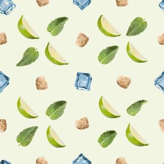 Wzór. limonka, mięta, cukier i kostka lodu na białym.