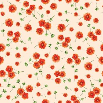 Wzór małych pomarańczowych kwiatów na beżowym tle. tło włókiennicze. akwarela.