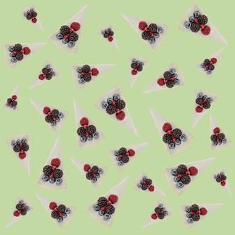 Wzór niebieski serniki z jagodami