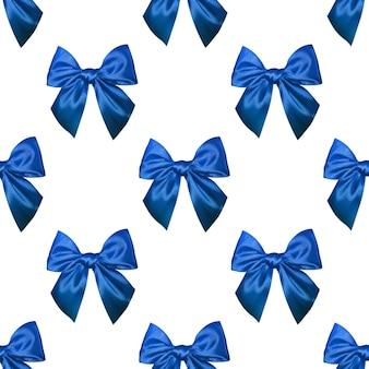 Wzór niebieskich kokardek na białym tle
