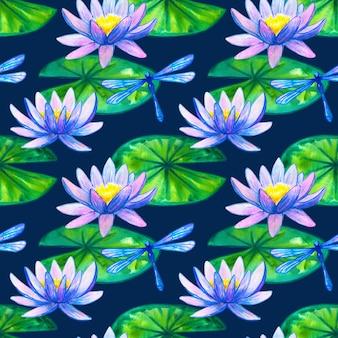 Wzór. niebiesko-różowe lilie wodne na zielonych liściach i ważkach. ręcznie rysowane akwarela ilustracja.