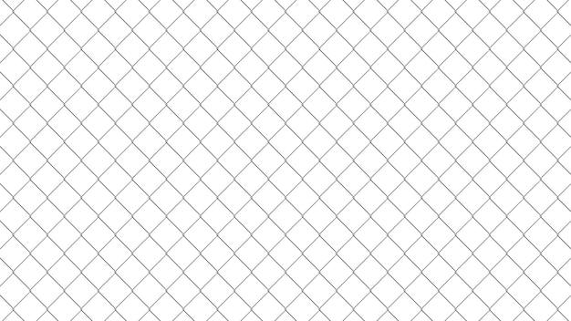 Wzór ogrodzenia ogniwa łańcucha. realistyczna tekstura geometryczna. element graficzny do identyfikacji wizualnej, stron internetowych, katalogu. tapeta w stylu industrialnym. ściana z drutu stalowego na białym tle. ilustracja 3d