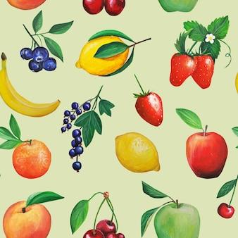 Wzór owoców. pomarańcze, banany, jabłka, gruszki, cytryna i liście.