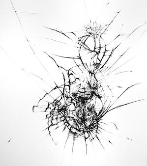 Wzór pęknięć na rozbitym szkle