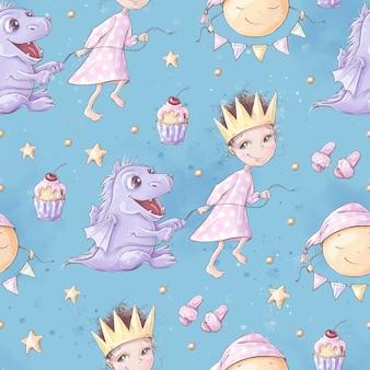 Wzór. piżamowa impreza dla dziewczynek. do druku cyfrowego.