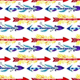 Wzór plemiennych strzał. akwarela etniczne wzór. projektowanie tkanin