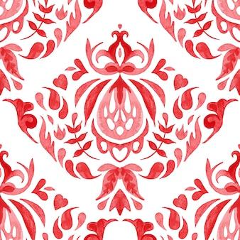 Wzór płytki czerwony bezszwowe ozdobne farby arabeska akwarela