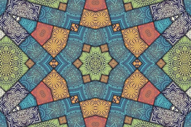 Wzór płytki mandali kwiatowy wzór, geometryczny obraz malowanych płytek, wzór arabski w stylu marokańskim.