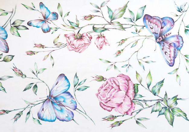 Wzór. ręcznie rysowane batik jedwabne motyle i kwiaty na białym tle.