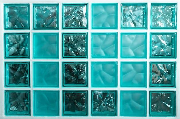 Wzór różnych turkusowych bloków szklanych abstrakcyjne tekstury