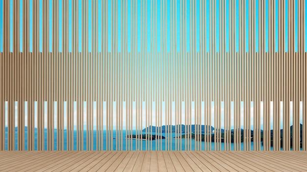 Wzór ściany i widok na morze w dziełach sztuki hotelu lub kurortu