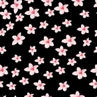 Wzór seamles z japońską sakurą z różowymi kwiatami