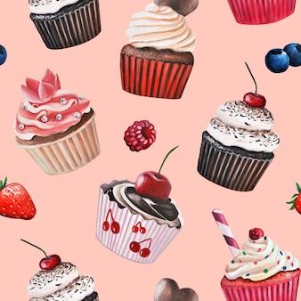 Wzór słodyczy. ciasto, babeczka.