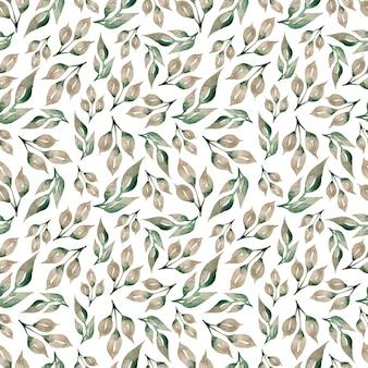 Wzór szare zielone liście, naturalne gałęzie, kolorowe zioła, ręcznie rysowane w akwareli.