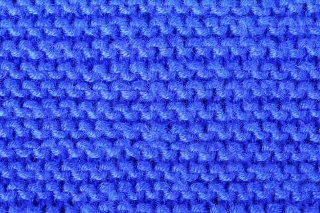 Wzór tekstury, dzianina z niebieskich nici akrylowych