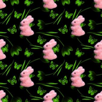 Wzór tulipanów z królikami na czarnym tle. zdjęcie wysokiej jakości
