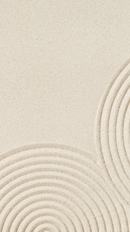 Wzór w japońskim ogrodzie zen z koncentrycznymi okręgami na piasku dla medytacji i spokoju