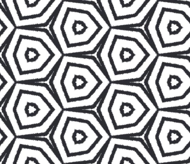 Wzór w paski z teksturą. czarne tło symetryczne kalejdoskop. modny wzór w paski z teksturą. tekstylny, egzotyczny nadruk, tkanina na stroje kąpielowe, tapeta, opakowanie.