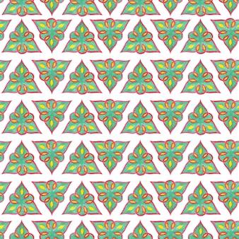 Wzór w stylu orientalnym. wzór tatarski. akwarela ilustracja na białym tle z zielonymi trójkątami