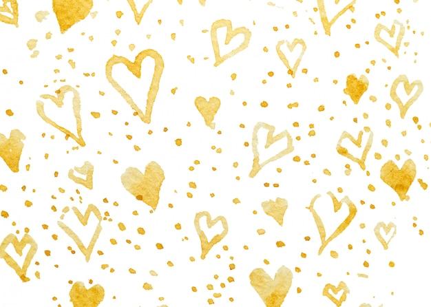 Wzór w złotych sercach. rysunek odręcznego pędzla.