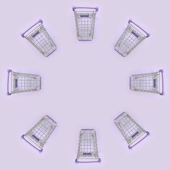 Wzór wielu małych wózków na zakupy na fioletowo