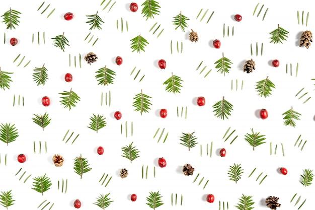 Wzór wykonany z gałęzi drzew i jagód